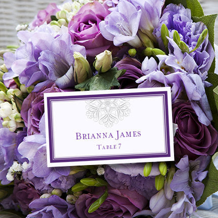 Wedding Seating Card Snowflake Purple Silver Tent