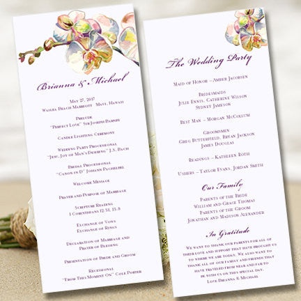 Slim Wedding Program Template Orchid Purple