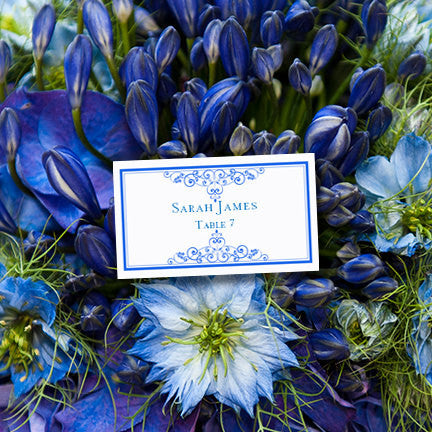 Wedding Seating Card Vintage Royal Blue Tent