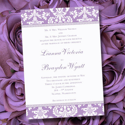 Damask Wedding Invitation Lavender Purple