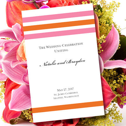 Wedding Program Template Simply Stripes  Pink Orange