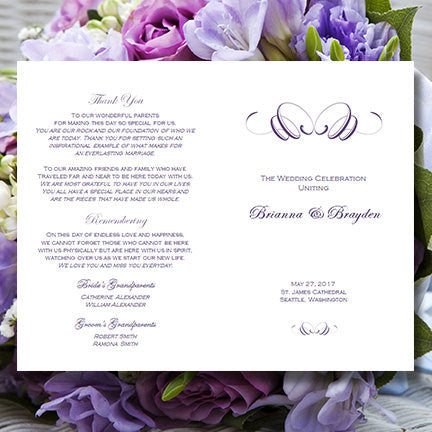 Wedding Program Template Flourish Purple