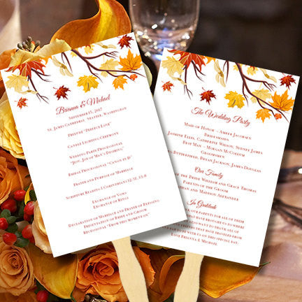 Wedding Program Fan Falling Leaves Autumn Colors