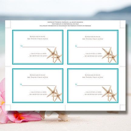 Wedding Response Cards Beach Starfish Turquoise
