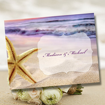 Wedding Thank You Card Sunset Beach