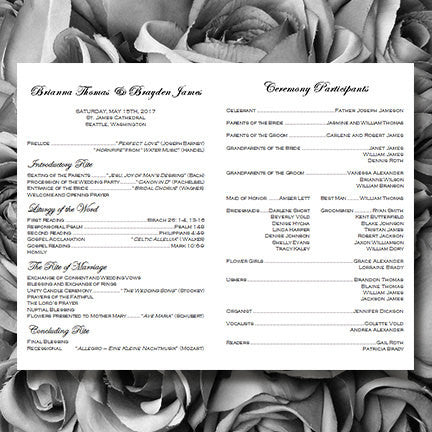 Catholic Church Wedding Program Simply Stripes Black White