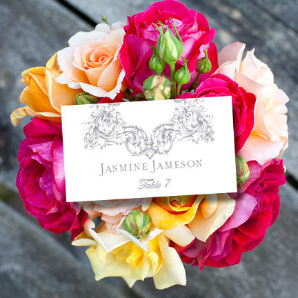 Wedding Seating Card Vienna Gray Tent