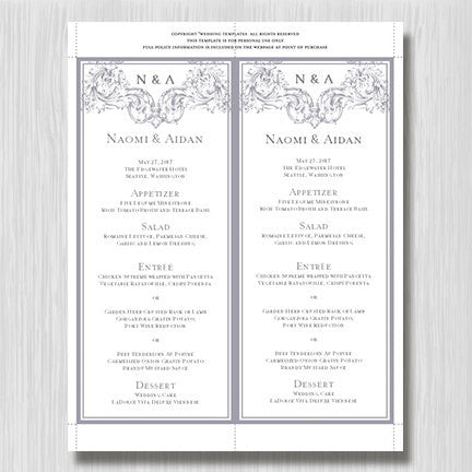 Wedding Menu Card Vienna Gray Tea Length