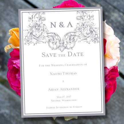 Wedding Save the Date Cards Vienna Gray
