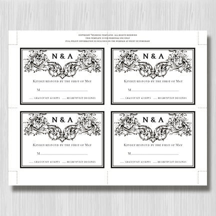 Wedding Response Cards Vienna Black White