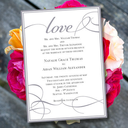 It's Love Wedding Invitation Gray