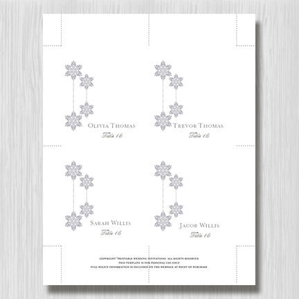 Wedding Seating Card Winter Snowflakes Silver Gray Tent