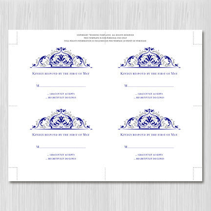 Wedding Response Cards Grace Navy Blue Silver Gray