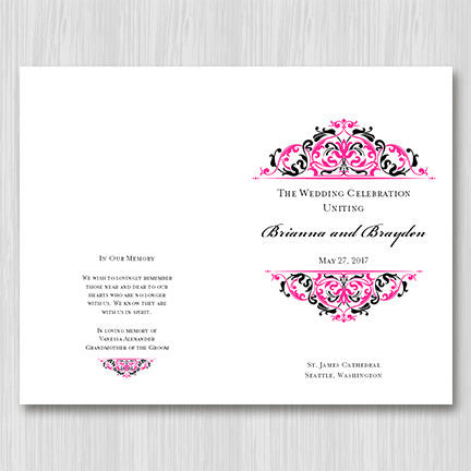 Wedding Program Template Grace Fuschia Pink Black
