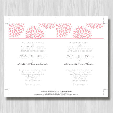 Floral Petals Wedding Invitation Blush Pink