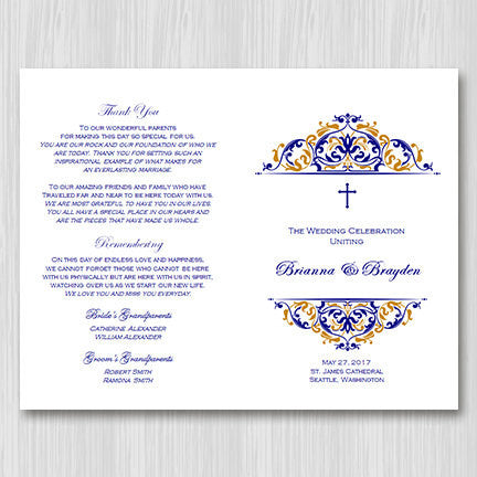 Catholic Church Wedding Program Grace Navy Blue Gold Wedding