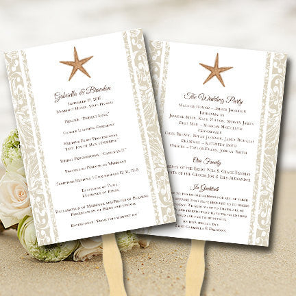 Wedding Programs Fan Beach Starfish Sand