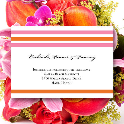 Wedding Reception Invitations Stripes Pink Orange
