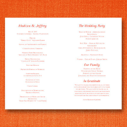 Wedding Program Template Gianna Coral Orange