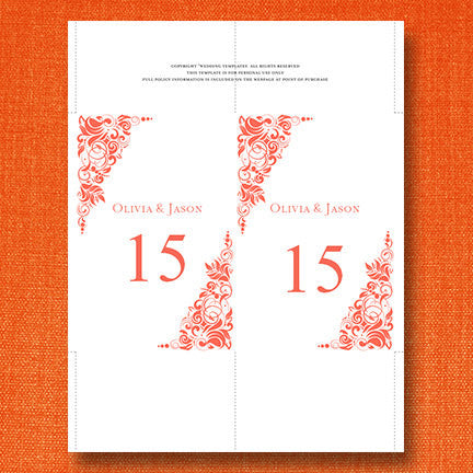 Wedding Table Number Template Gianna Coral Orange Flat