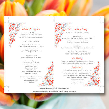 Wedding Programs Fan Gianna Coral Silver