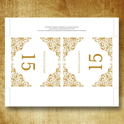 Printable Table Number Template Isabella Gold Tent