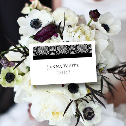 Wedding Seating Card Damask Black Tent