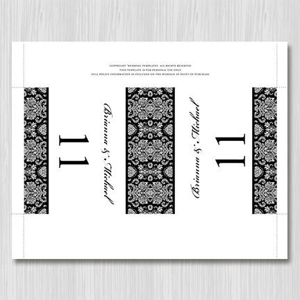 Printable Table Number Template Damask Black White Tent