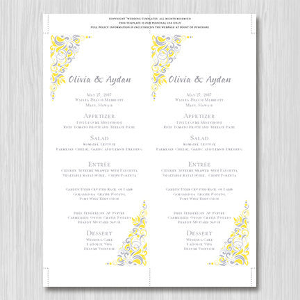 Wedding Menu Card Gianna Yellow Silver Gray Tea Length