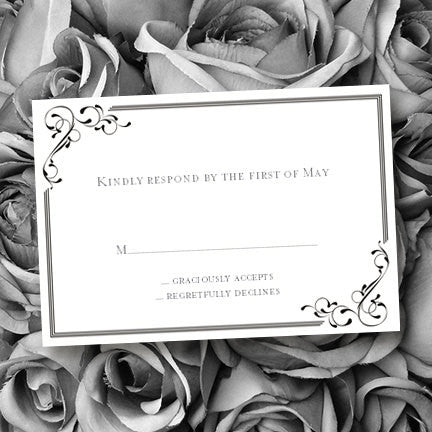 Wedding Response Cards Elegance Black White