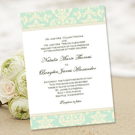 Damask Wedding Invitation Mint Green Champagne