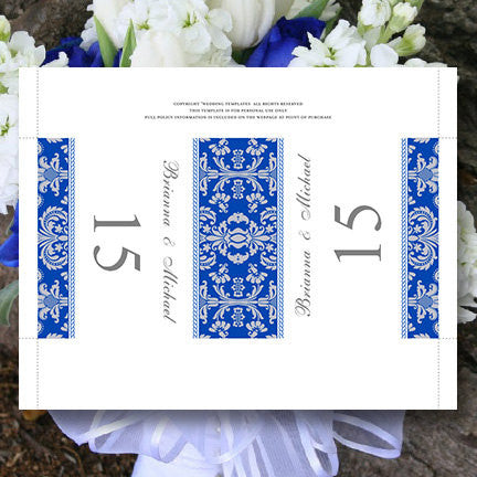 Printable Table Number Template Damask Cobalt Blue Gray Tent