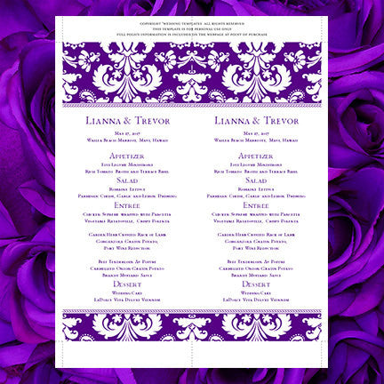 Wedding Menu Card Damask Indigo Purple Tea Length