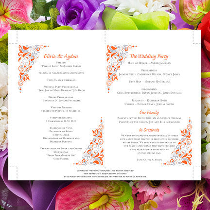 Wedding Program Fan Gianna Tangerine Orange Silver