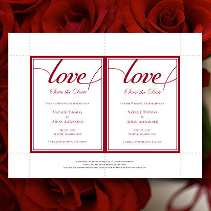 Wedding Save the Date Cards It's Love Red
