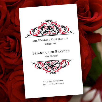 Wedding Program Template Grace Black Red
