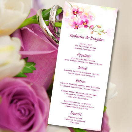 Wedding Menu Card Orchid Purple Tea Length