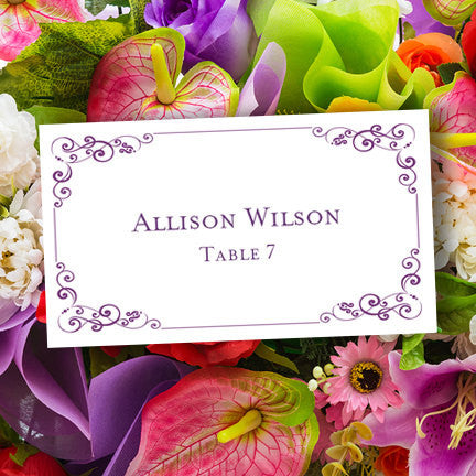 Wedding Seating Card Julia Purple Tent