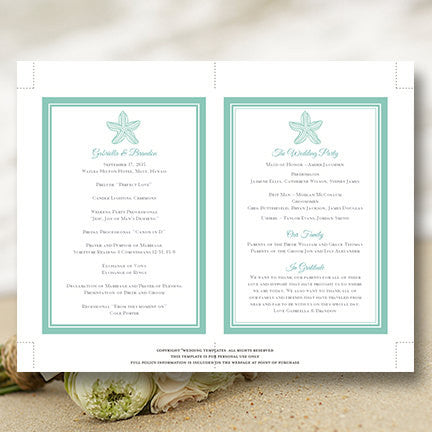 Wedding Program Fan Beach Starfish Seafoam Green