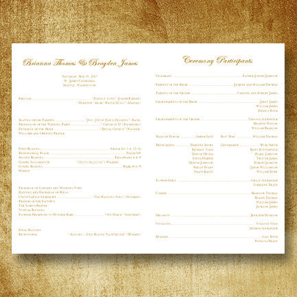 Wedding Program Template Isabella Gold