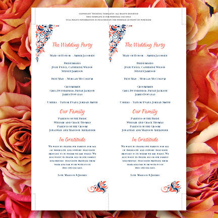 Slim Wedding Program Gianna Navy Blue Coral Orange