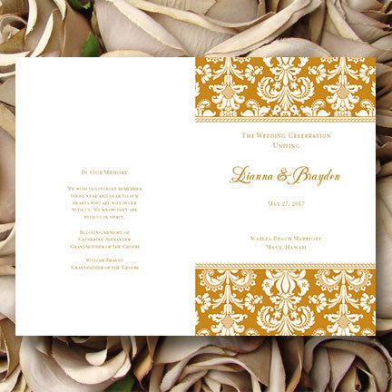 Wedding Program Template Damask Gold