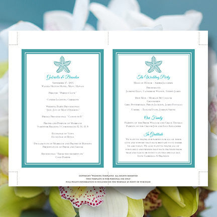 Wedding Program Fan Beach Starfish Turquoise