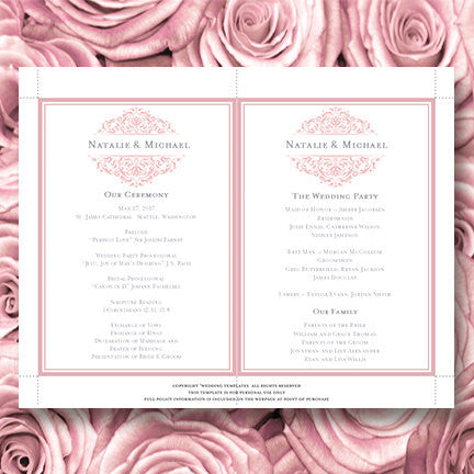 Wedding Program Fan Grace Blush Pink