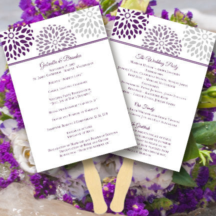 Wedding Program Fan Floral Petals Purple Plum Light Gray