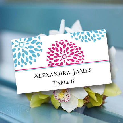 Wedding Seating Card Floral Petals Malibu Blue Fuchsia Tent