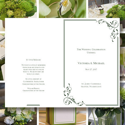 Wedding Program Template Elegance Forest Green