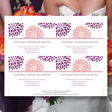 Wedding Reception Invitations Floral Petals Coral Purple Sangria