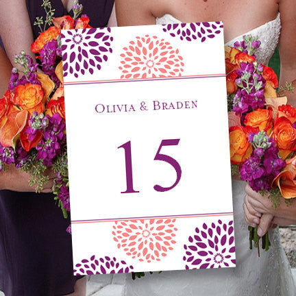 Wedding Table Number Template Floral Petals Coral Purple Flat