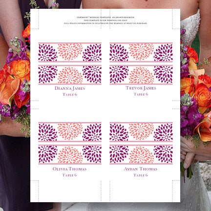 Wedding Seating Card Floral Petals Coral Purple Tent